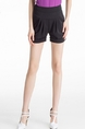 Black Plain Plus Size Shorts for Casual