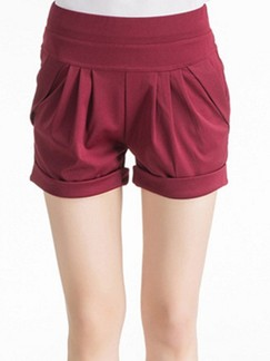 Red Plain Plus Size Shorts for Casual Special Offer