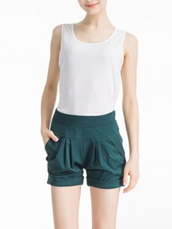 Green Plain Plus Size Shorts for Casual Special Offer