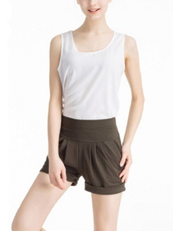 Brown Plain Plus Size Shorts for Casual