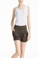 Brown Plain Plus Size Shorts for Casual Special Offer