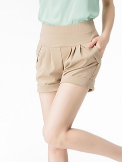 Beige Plain Plus Size Shorts for Casual Special Offer