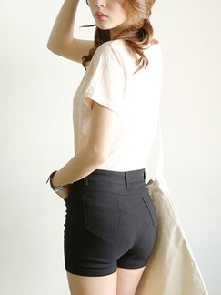 Black Plain Denim Shorts for Casual Special Offer