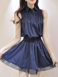 Blue Shirt Above Knee Fit  Flare Plus Size Dress for Casual Party Evening  Special Offer