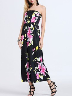 Black Floral Maxi Strapless Plus Size Dress for Casual Party Beach Special Offer