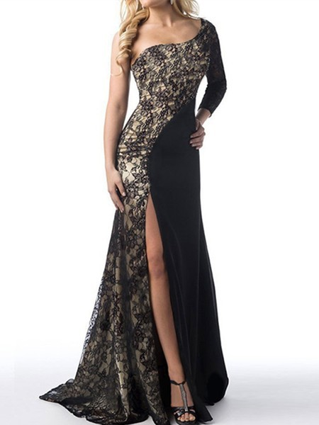 Black and Golden One Shoulder Bodycon Maxi Plus Size Long Sleeve Dress for Prom Cocktail