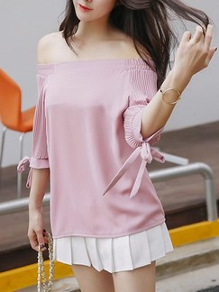 Pink Cute Blouse Off Shoulder Plus Size Top for Casual Party Special Offer