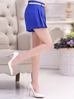 Blue Plain Plus Size Shorts for Casual Office Special Offer