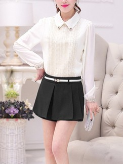 Black Plain Plus Size Shorts for Casual Office