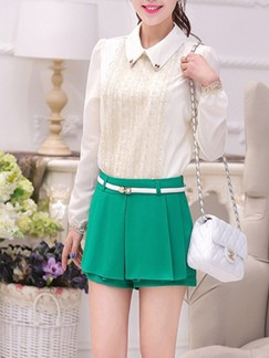 Green Plain Plus Size Shorts for Casual Office