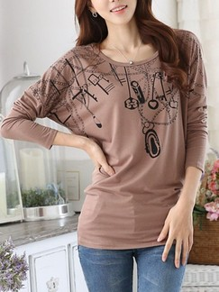 Brown T-Shirt Long Sleeve Top for Casual