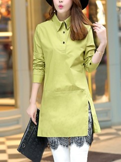 Green Shirt Above Knee Shift Long Sleeve Plus Size Dress for Casual Evening Office Special Offer