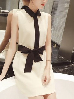 Beige and Black Shirt Above Knee Shift Dress for Casual Party Evening Office