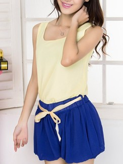 Blue Plain Shorts for Casual Party