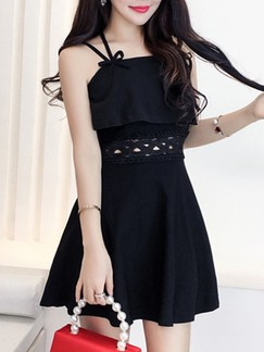 Black Slip Fit  Flare Above Knee Dress for Cocktail Evening Party Seasonal Discount