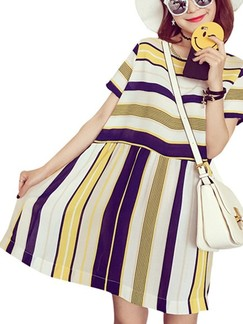 Beige and Yellow Shift Above Knee Plus Size Dress for Casual Beach