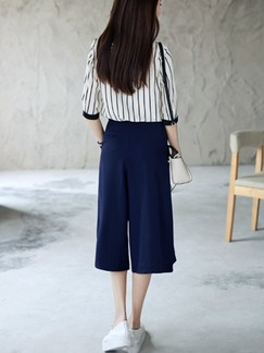 White and Blue Two Piece Shirt Shorts Plus Size Jumpsuit for Casual Evening Office