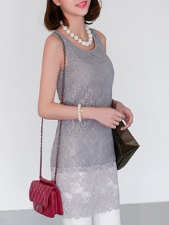 Grey Slip Above Knee Plus Size Sheath Lace Dress for Casual Evening Party Special Offer