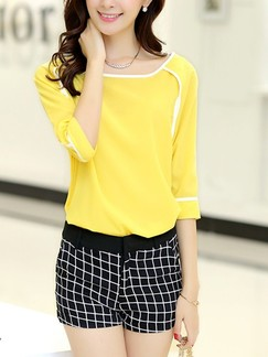 Yellow and Black Two Piece T-Shirt Shorts Plus Size Jumpsuit for Casual Party Evening Special Offer