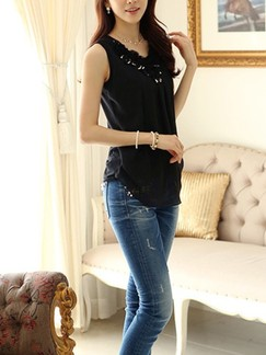 Black Tank Top for Casual Party Evening