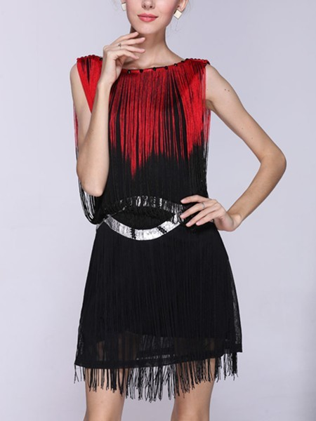 Black and Red Shift Above Knee Dress for Cocktail Party Evening