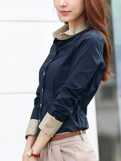 Blue Blouse Long Sleeve Plus Size Top for Casual Office