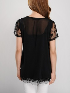 Black Plus Size Lace T-Shirt Top for Casual
