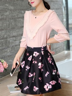 Pink and Black Cute Two Piece Above Knee Plus Size Fit  Flare Floral Dress for Casual Evening Party Special Offer
