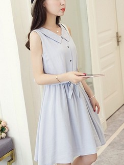 Blue Shirt Fit  Flare Above Knee Dress for Casual Office Special Offer