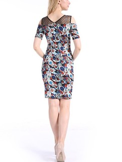 Colorful Above Knee Bodycon Plus Size Dress for Casual Party Evening