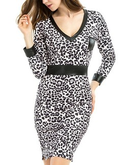 Black and White Bodycon Above Knee V Neck Plus Size Long Sleeve Dress for Casual Office Evening Party Special Offer