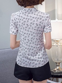 White Blouse Printed Plus Size Top for Casual Office  Special Offer