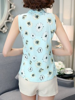 Green Blue Blouse Floral Printed Plus Size Top for Casual Office Special Offer