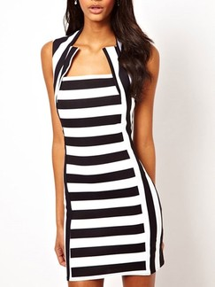 Black and White Bodycon Above Knee Dress for Cocktail Party Evening