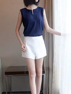 c2e508592f9b Blue and White Two Piece Shirt Shorts Plus Size Jumpsuit for Casual Evening  Office