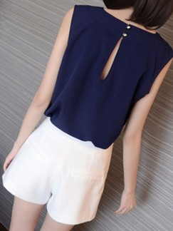 Blue and White Two Piece Shirt Shorts Plus Size Jumpsuit for Casual Evening Office Special Offer