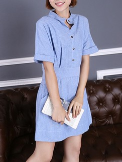 Blue Shift Shirt Above Knee Plus Size Dress for Casual Special Offer