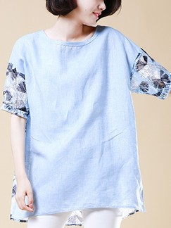 Blue T-Shirt Plus Size Top for Casual Special Offer