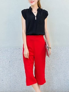 eddda80b808 Black and Red Two Piece T-Shirt Pants Plus Size Jumpsuit for Casual Office  Evening