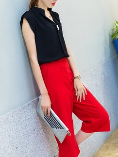 Black and Red Two Piece T-Shirt Pants Plus Size Jumpsuit for Casual Office Evening