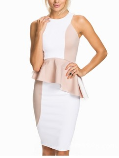 White and Beige Bodycon Knee Length Dress for Cocktail Evening Party