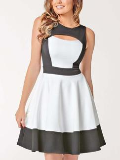 Grey and White Knee Length Fit  Flare Dress for Party Evening Casual Special Offer