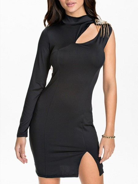 Black Bodycon Above Knee Long Sleeve Dress for Cocktail Party Evening