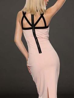 Pink and Black Cute Bodycon Knee Length Dress for Cocktail Party Evening