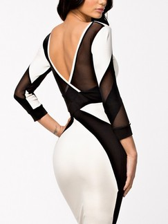 Black and White Bodycon Knee Length Backless Dress for Cocktail Party Evening