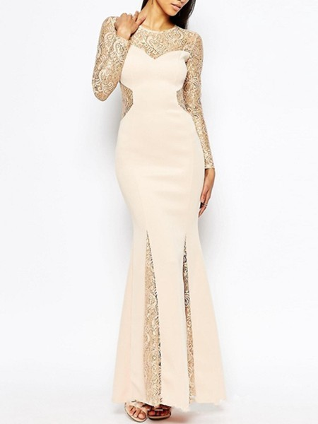 Golden and Beige Bodycon Maxi Lace Long Sleeve Dress for Cocktail Prom