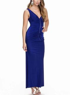 Blue Bodycon Maxi V Neck Dress for Cocktail Prom