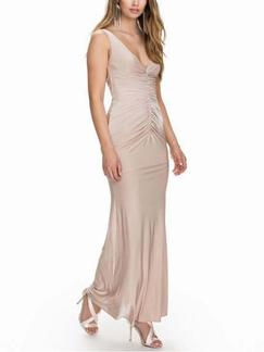 Beige Bodycon Maxi V Neck Dress for Cocktail Prom