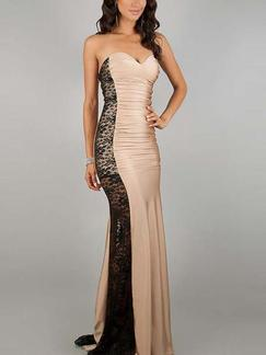 Beige and Black Bodycon Strapless Maxi Dress for Cocktail Prom