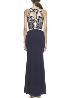 Blue and Beige Bodycon Maxi Floral Dress for Cocktail Prom